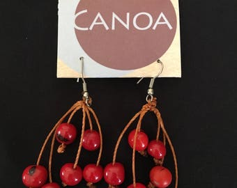 Red Berry Acai Earrings / Organic Jewelry / Dangle Acai Earrings / Brazilian Earrings