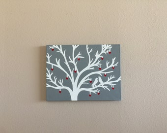 Valentines day Tree Painting - Hand Painted Canvas 11 x 14