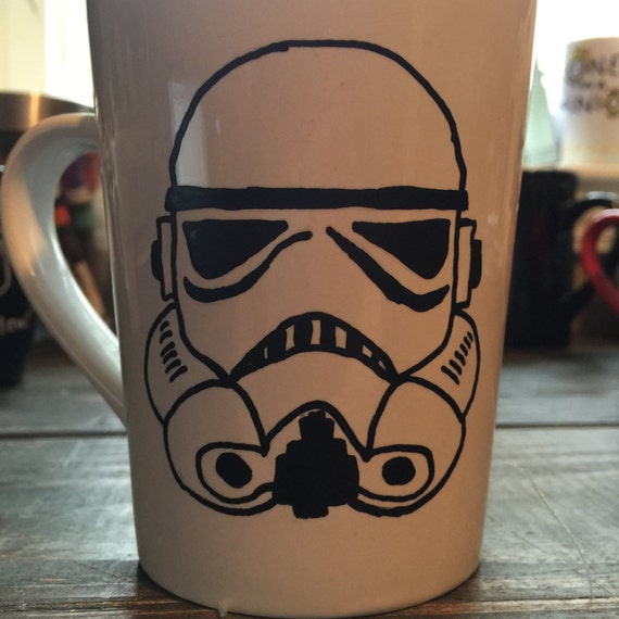Hand Painted Coffee Mug, Large Coffee Mug, Star Wars Mugs, Gifts for Coffee Lovers, New Home Gifts, Hand Painted Gifts, Storm Trooper Mug