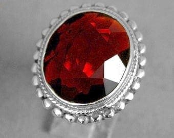 Oval Faceted Red Garnet Gemstone 925 Sterling Silver Ring Size 6.5 e64