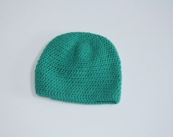Crochet Winter Beanie for Orthostatic Intolerance. Teal. Adult