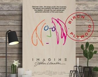 IMAGINE: JOHN LENNON - Poster on Wood, John Lennon, Yoko Ono, Paul McCartney, The Beatles, Unique Gift, Birthday Gift, Print on Wood