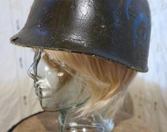 Vietnam War Helmet with Blue Stenciled Emblem
