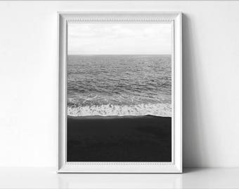 Beach Wave Art Print, Black and White Beach Photo, Modern Minimal, Sand and Wave, Beach Coastal Decor, Ocean, Beach Art Photo, Coastal,