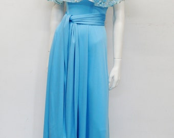 Vintage 70's skyblue full length dress with floral chiffon cape-collar // maxi // Eur 36 / US 6 / UK 8