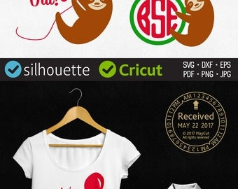 Sloth Svg Monogram Frame Svg Cuttable Quote Png Lazy Wording Dxf Cut Files for Silhouette, Cricut, Heat Press Transfer, Iron on vinyl design