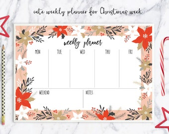 Christmas / Weekly planner / printable / PNG / Schedule / Planner / calendar / Clip art / to do