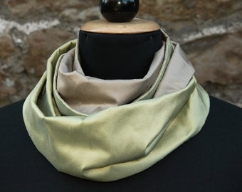 Infinity Scarf for Women, Loop Scarf for Women, Circle Scarf Silk, Loop Scarf Green, Infinity Scarf Silk, Loop Scarf Silk for Women