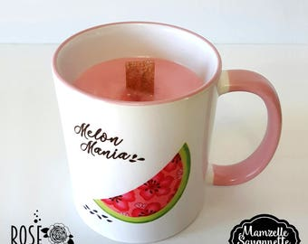 Candle flavored watermelon, pink candle, Cup shown