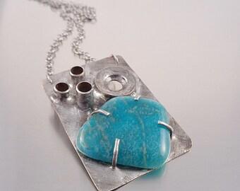 Amazonite industrial necklace, Geometric statement necklace,amazonite healing stone pendant, turquoise blue gem stone hardware pendant