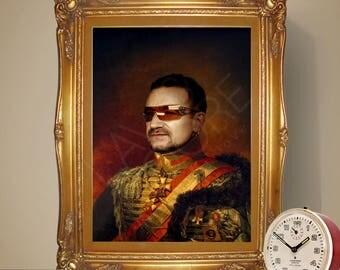 Bono U2 Renaissance Portrait Print, Portrait Poster