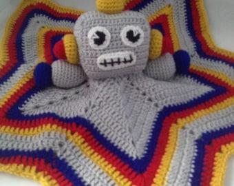 Crocheted Robot Baby Comforter