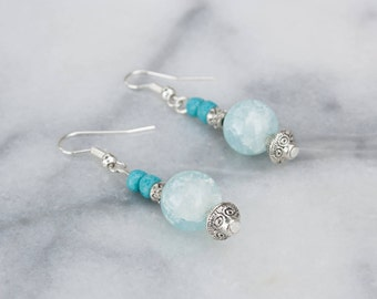 Turquoise and Blue Beaded Drop Earrings, Tibetan Silver, Dangle Earrings, Gift for Her, Handmade