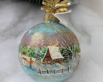 Painted Christmas Ornament, Christmas Ornament, Winter Scene Ornament, Hand Painted Winter Scene Ornament, Christmas, Painted Ornament