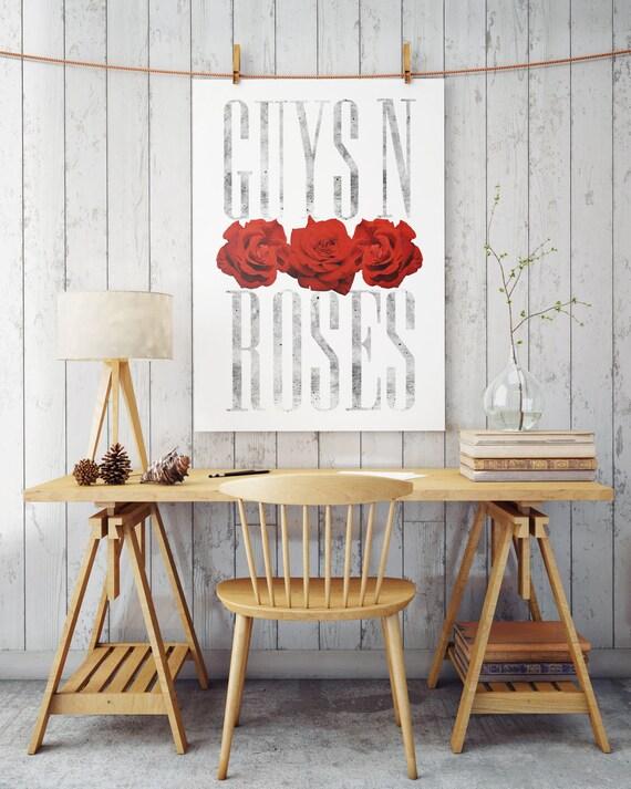 GUYS N ROSES | Wall art | poster art | printable art | art prints for sale | artwork | Posters | Artwork | Instant download | gay art