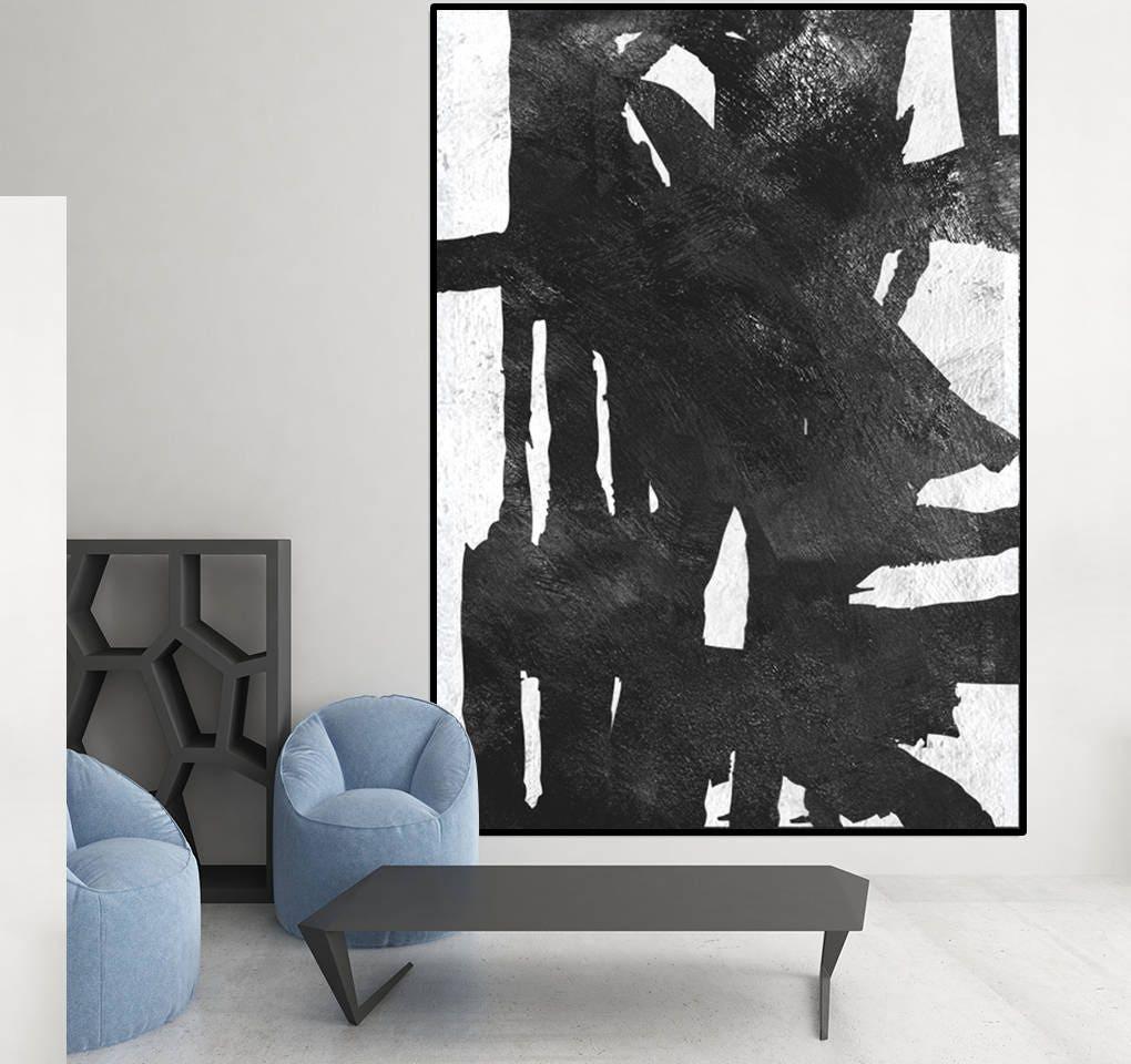 peinture acrylique mi si cle mur dart moderne noir et blanc. Black Bedroom Furniture Sets. Home Design Ideas