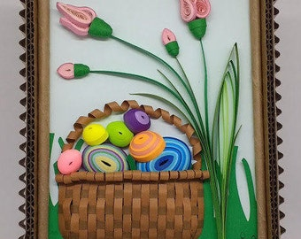 """Quilled """"Easter Basket"""" Wall Art. 5"""" x 7"""" Image area. Includes Hand Crafted Corrugated Paper Frame."""