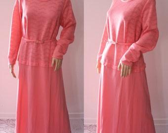 Bright Coral Pink 60's Maxi Dress