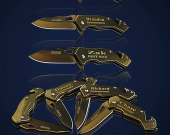 8 Personalized Knifes - 8 Groomsmen engraved gift - Officiant gift - Best Man engraved tactical knife - Wedding and Birthday - Usher gift
