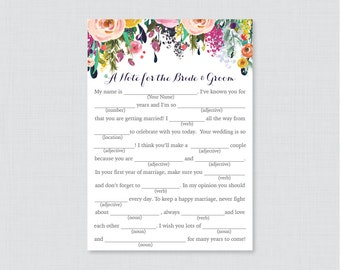 Printable Wedding Mad Libs - Floral Wedding Mad Libs Cards for Advice - Colorful Flower Wedding Reception Game/Activity Shabby Chic 0003-B