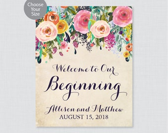 Printable Welcome to Our Beginning Sign - Floral Wedding Welcome Sign - Colorful Flower Personalized Wedding to Our Beginning 0003-A