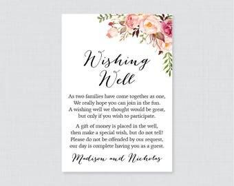 Printable OR Printed Wedding Wishing Well Cards