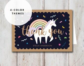Unicorn Thank You Card, Unicorn Birthday, Unicorn Party, rainbow Unicorn confetti kawaii Unicorn mint pink purple blue DIGITAL FILE