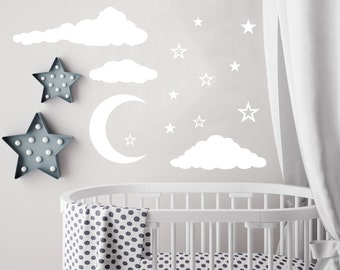Cloud Wall Decal Moon And Stars Decals Nursery Decor Night Sky Clouds Wall  Decal Baby Room Part 61