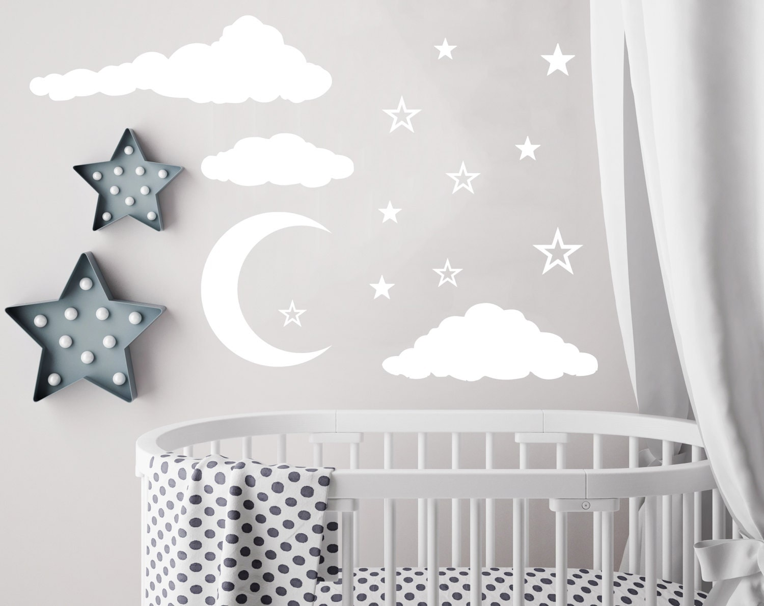 Cloud wall decal moon and stars decals nursery decor night sky description the listing is for cloud wall decal moon and stars decals nursery amipublicfo Images