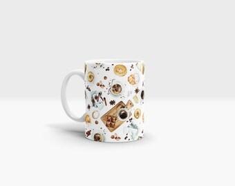 Continental Breakfast Mug. 11oz Ceramic Mug.
