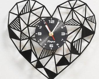 HEART Clock Heart Wall Decor Bedroom Wall Art Love Wall Decal Heart Decorations Geometric Decor Living Romantic Decor Anniversary Clock