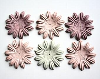 Chamomile leather flowers set of 6 pcs