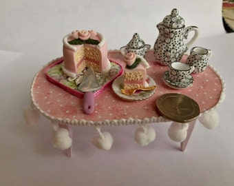 Dolls house miniature shabby, food ,handmade cake with roses and pink icing,Ooak,1:12 scale.