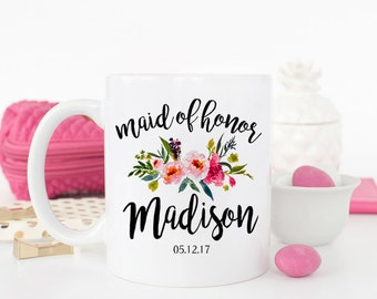 Custom Maid of Honor Mug, Maid of honor Gift, Bridal Party Gifts, Bridesmaid proposal, Maid of Honor mug, Gift for Maid of Honor, AAA_001