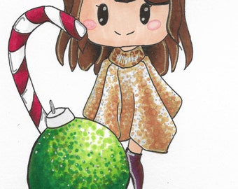 Christmas Glitter Poncho Chibi~