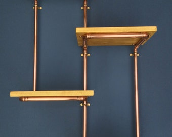 Copper Pipe Retro 4 Shelf Wall Unit, Industrial, Retro, Chic