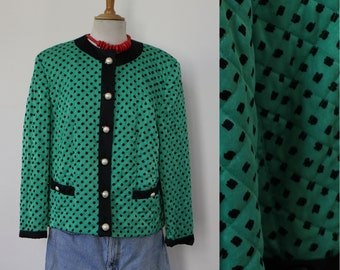 Jacket / Blazer quilted MACAW / Vintage / green and black / Flashy / shiny / comfortable / UK 18 / size 44