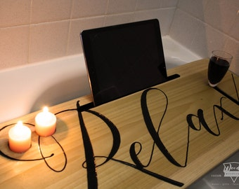 Wood Bathtub Tray, Wooden Bath Caddy, Wine Phone Tablet Bathtub Tray