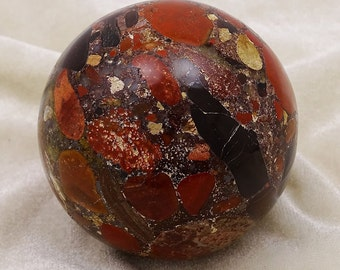 Sphere Ball Brecciated Jasper Stone, Balancing Table Decor, Reiki Healing Crystal, Healing Gemstone With Gift Pouch HCDR987A