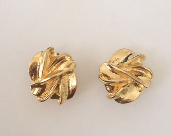 Vintage 1950's Hollywood Glamour Gold Clip On Stud Earrings
