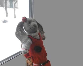 Handmade Knit Bunny Rabbit Toy Kids Toy Gift Bunny Plush Doll Crocheted Rabbit Stuffed Bunny Gift Child Toy  Knit Stuff Animal Decor doll