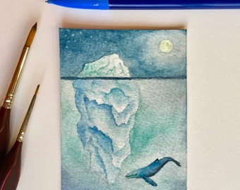 The whale across the ice - ACEO - whale art - ORIGINAL - watercolor - collector's art