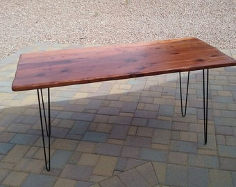 REDWOOD table top with HAIRPIN legs