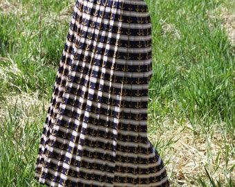 Vintage Pleated Midi Skirt Nautical Striped Button Up Skirt TAPESTRY DESIGNS Small