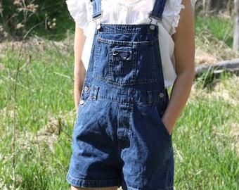 Vintage Denim Overalls Jean Bibs Shorts Romper Playsuit STEPHEN HARDY SQUEEZE Small / Medium