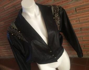 Vintage 80s Faux Leather Jacket Size 6