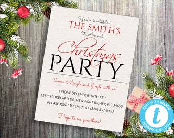 Christmas Party Invitations, Christmas Party Invitation Template, Printable Christmas Invitation, Printable Holiday Party Invitation