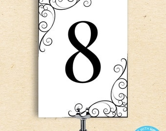 fancy table numbers etsy. Black Bedroom Furniture Sets. Home Design Ideas