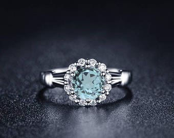 Aquamarine Engagement Ring 14k White Gold Round Aquamarine Ring Halo Engagement Ring Proposal Ring March Birthstone