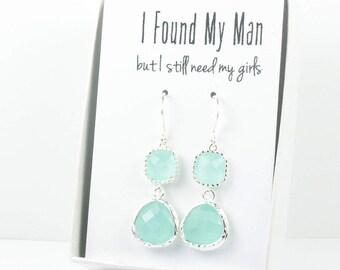 Long Mint Silver Earrings, Mint Green Silver Earrings, Bridesmaid Earrings, Green Wedding Jewelry, Bridesmaid Gift, Teardrop Earrings